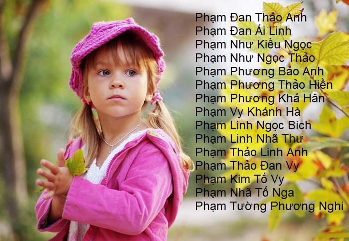 Gợi ý các tên hay 4 chữ cho bé gái họ Phạm