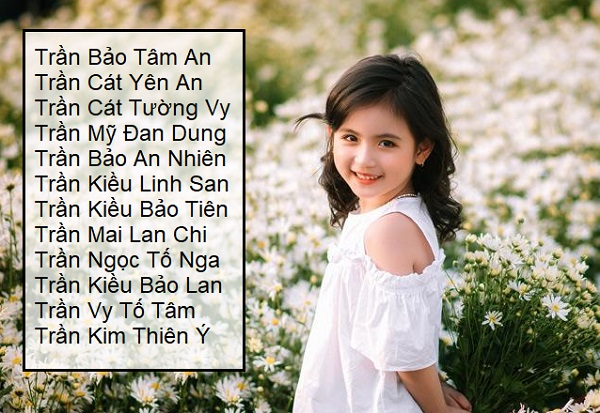 Đặt tên 4 chữ cho con gái họ Trần