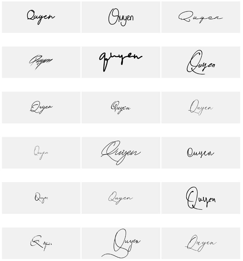 Mẫu chữ ký tên Quyên đẹp nhất