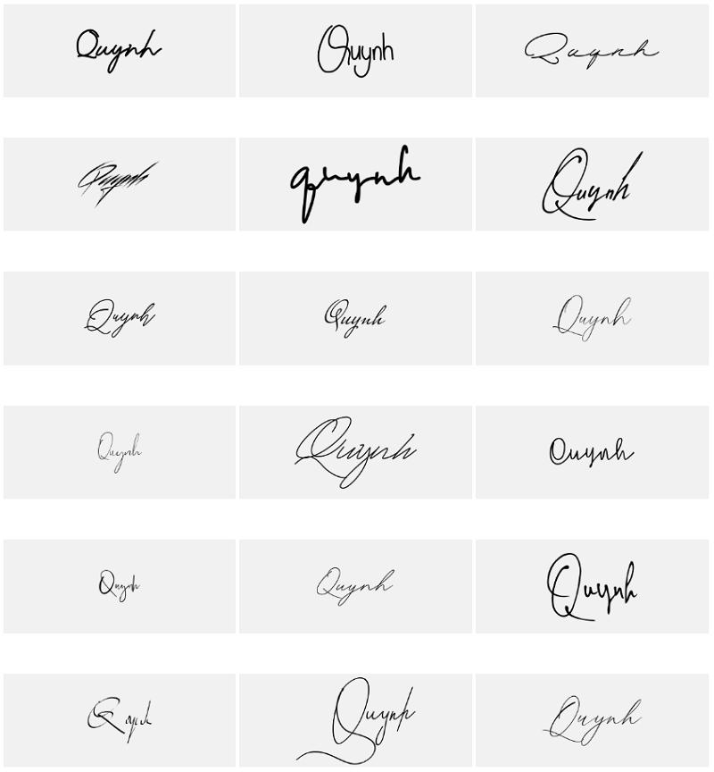 Mẫu chữ ký tên Quỳnh đẹp nhất