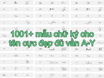 Mẫu chữ ký tên đẹp các vần A-Y