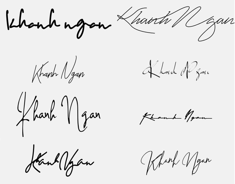 Chữ ký đẹp cho tên Khánh Ngân. Tên Khánh Ngân có ý nghĩa gì, tốt hay xấu?