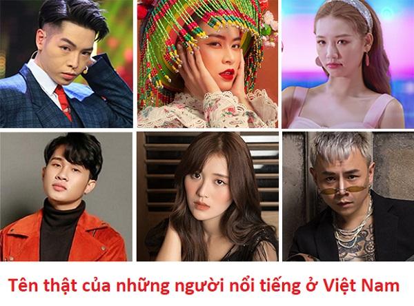 Tên thật của những người nổi tiếng ở Việt Nam